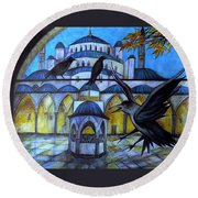 The Courtyard Of The Blue Mosque At Dusk Round Beach Towel