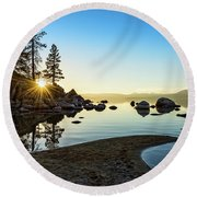 The Cove At Sand Harbor Round Beach Towel