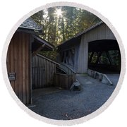 The Covered Bridge At Cedar Creeks Grist Mill Round Beach Towel