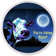 The Cow Jumps Over The Moon Round Beach Towel