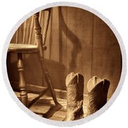The Cowgirl Boots And The Old Chair Round Beach Towel by American West Legend By Olivier Le Queinec