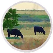 The Cows Next Door Round Beach Towel