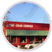 The Crab Cooker In Balboa Park Newport Beach California Round Beach Towel