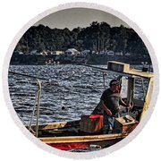 The Crabber Round Beach Towel