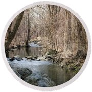 Round Beach Towel featuring the photograph The Creek by Judy Wolinsky