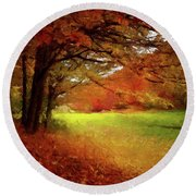 Round Beach Towel featuring the painting The Crimson Season P D P by David Dehner