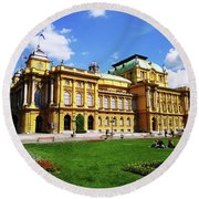 The Croatian National Theater In Zagreb, Croatia Round Beach Towel