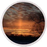 The Cross In The Sunset Round Beach Towel