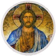 Round Beach Towel featuring the digital art The Cross Of Christ by Ian Mitchell