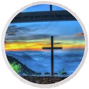 The Cross Sunrise At Pretty Place Chapel Round Beach Towel
