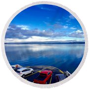 Round Beach Towel featuring the photograph The Crossing by Sean Griffin