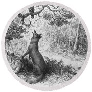 The Crow And The Fox Round Beach Towel