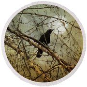 The Crow And The Moon Round Beach Towel