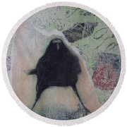The Crow Called The Raven Black Round Beach Towel by Kim Nelson