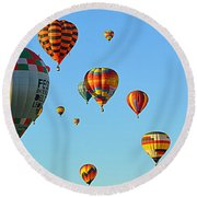 Round Beach Towel featuring the photograph The Crowded Skies by AJ Schibig