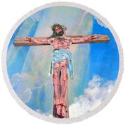 The Crucifixion Daytime Round Beach Towel