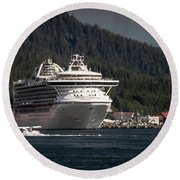 Round Beach Towel featuring the photograph The Cruise Ship And The Plane by Timothy Latta