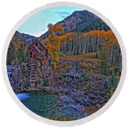 Round Beach Towel featuring the photograph The Crystal Mill by Scott Mahon