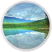 Round Beach Towel featuring the photograph The Crystal Waters Of Lake Annette by Tara Turner