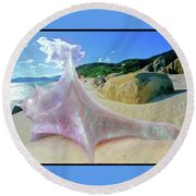 Round Beach Towel featuring the sculpture The Crystalline Rainbow Shell Sculpture by Shawn Dall