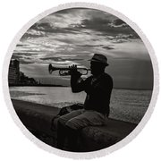 The Cuban Trumpeter 1 Round Beach Towel