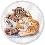 The Cuddly Kittens Round Beach Towel