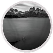 The Cuernos And Lake Pehoe - Patagonia Round Beach Towel