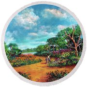 Round Beach Towel featuring the painting The Cycle Of Life by Randol Burns
