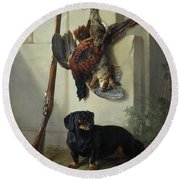 The Dachshound Pehr With Dead Game And Rifle Round Beach Towel
