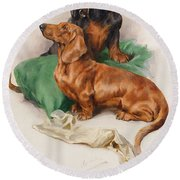 The Dachshunds Round Beach Towel