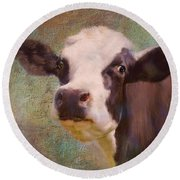 Round Beach Towel featuring the mixed media The Dairy Queen by Colleen Taylor