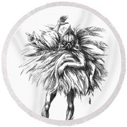 The Dance Macabre Round Beach Towel by Yvonne Wright