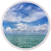 The Dance Of Clouds On The Sea Round Beach Towel