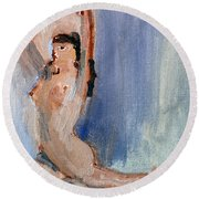 Round Beach Towel featuring the painting The Dancer by Michael Helfen