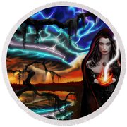 The Dark Caster Calls The Storm Round Beach Towel by James Christopher Hill