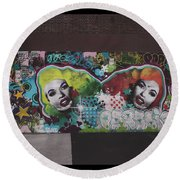 Round Beach Towel featuring the photograph The Dark Side -  Graffiti by Colleen Kammerer