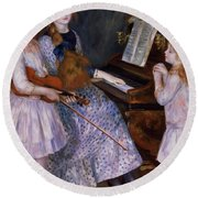 The Daughters Of Catulle Mendes At The Piano, 1888 Round Beach Towel