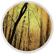 The Dawn Of The Trees Round Beach Towel