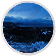 Round Beach Towel featuring the photograph The Dawn Of Winter by Sean Sarsfield
