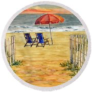 The Day Awaits  Round Beach Towel by Melly Terpening