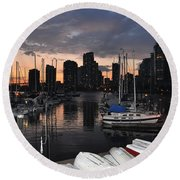 The Day Ends At The Marina Round Beach Towel