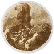The Death Of Hippolytus Round Beach Towel