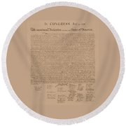 The Declaration Of Independence Round Beach Towel