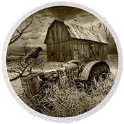 Round Beach Towel featuring the photograph The Decline And Death Of The Small Farm In Sepia Tone by Randall Nyhof