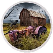 Round Beach Towel featuring the photograph The Decline And Death Of The Small Farm by Randall Nyhof