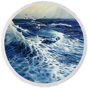 The Deep Blue Sea Round Beach Towel by Eileen Patten Oliver