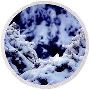 Round Beach Towel featuring the photograph The Deep Blue - Winter Wonderland In Switzerland by Susanne Van Hulst