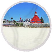 The Del Coronado Hotel San Diego California Round Beach Towel