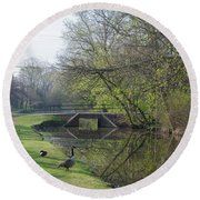 The Delaware Canal - Morrisville Pennsylvania Round Beach Towel by Bill Cannon