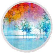 The Departing Trees Round Beach Towel